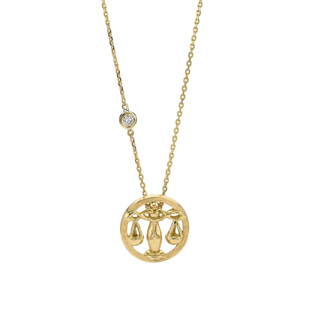 Libra Zodiac Necklace - 18kt Gold - USE CODE SPRING30 FOR AN EXTRA 30% OFF