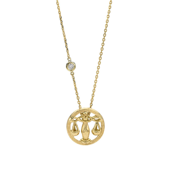 Libra Zodiac Necklace (Sept. 23 - Oct. 22) - 18kt Gold