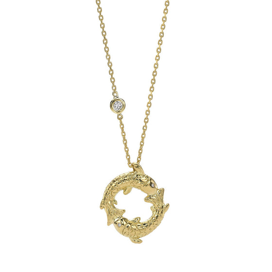 Pisces Zodiac Necklace (Feb. 20 - Mar. 20) - 18kt Gold