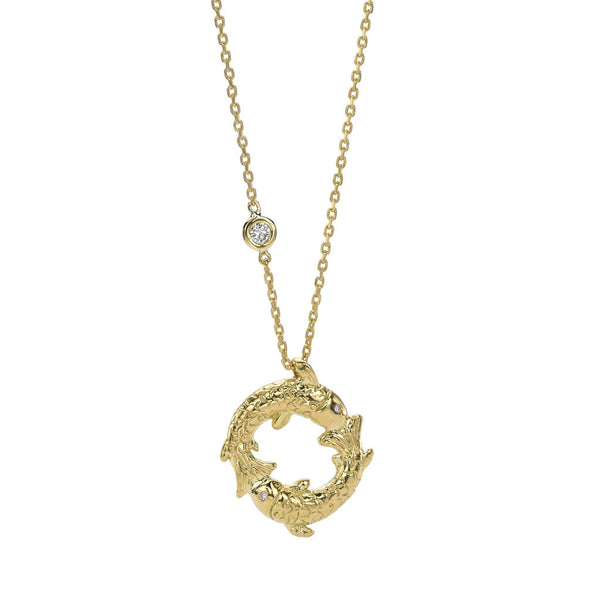 Pisces Zodiac Necklace - 18kt gold - SPECIAL ORDER ONLY