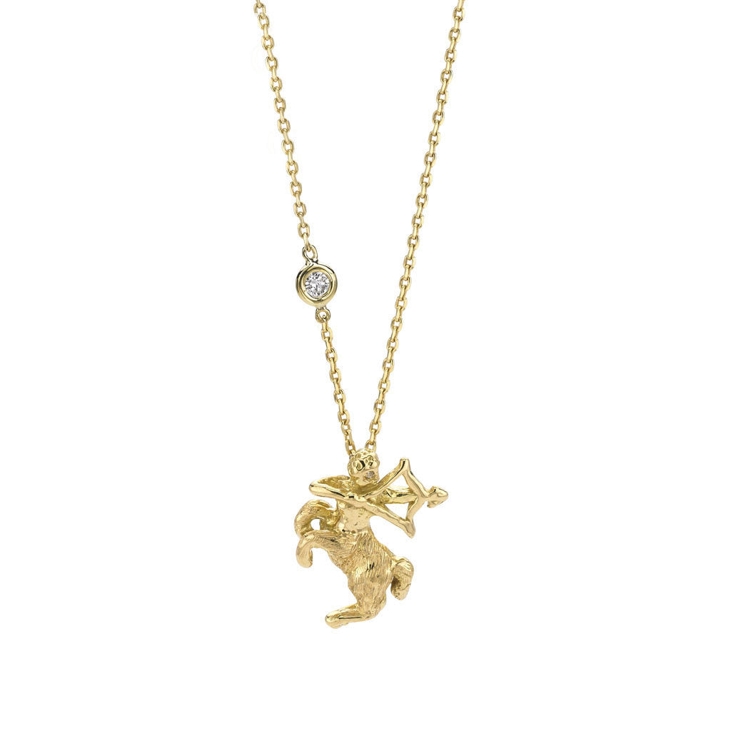Sagittarius Zodiac Necklace - 18kt Gold - PRICE IS $548 WHEN YOU USE CODE HOORAY50 FOR AN EXTRA 50% OFF