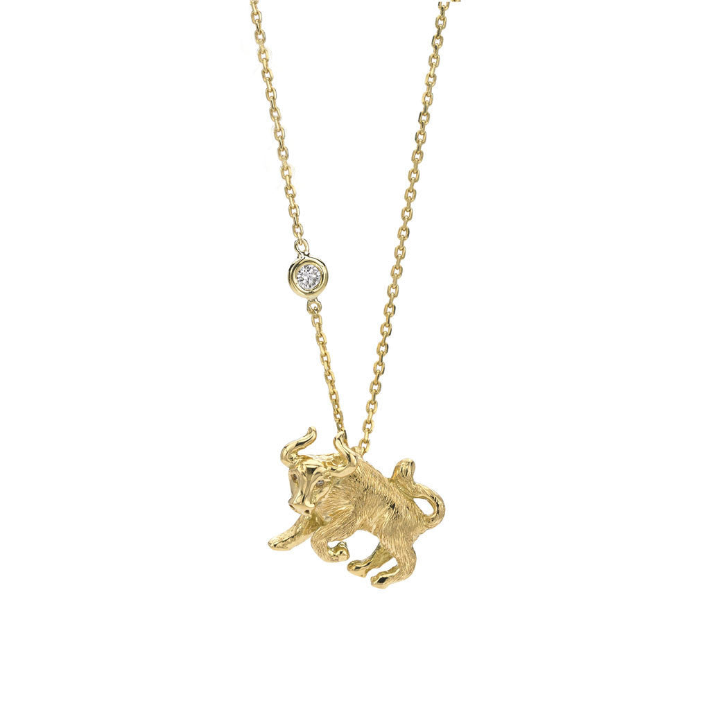 Taurus Zodiac Necklace (Apr. 21 - May 20) - 18kt Gold
