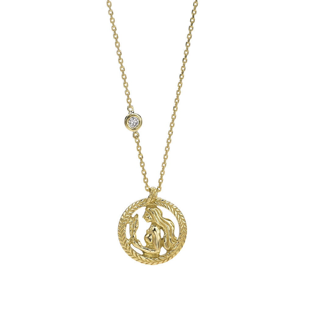 Virgo Zodiac Necklace (Aug. 23 - Sept. 22) - 18kt Gold