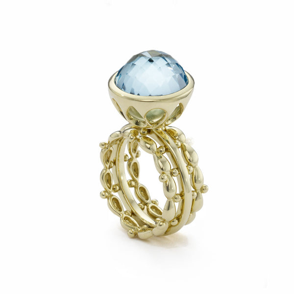 18kt Gold Bowl Stack Ring in Blue Topaz - Newly Back in Stock
