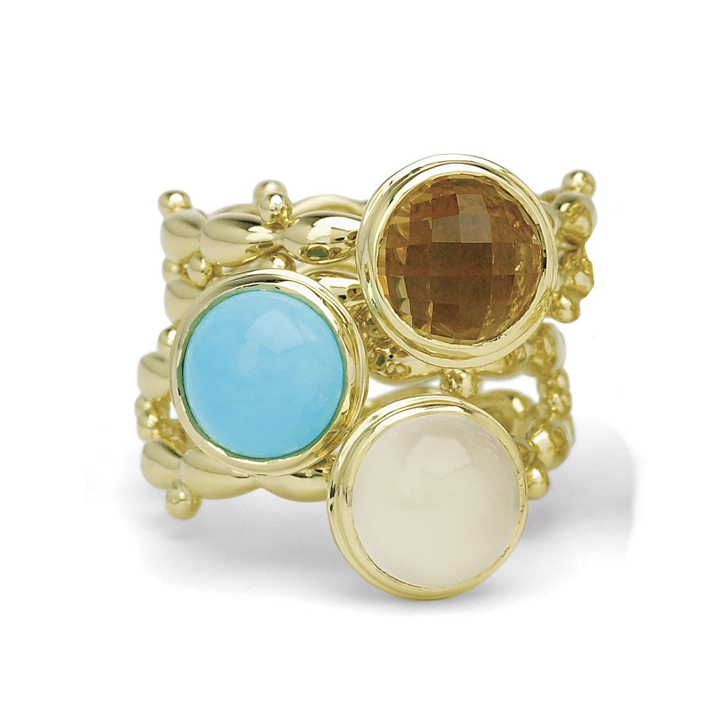 18kt Gold Double Shank White Moonstone Bowl Ring