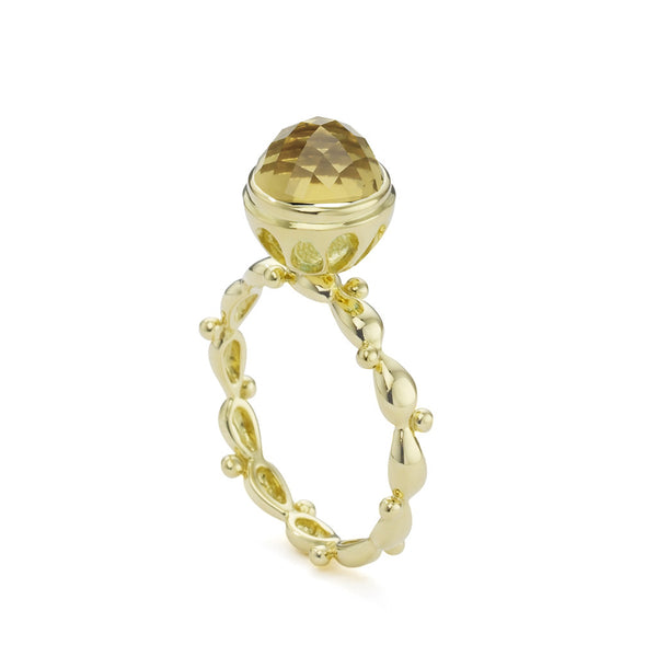18kt Gold Single Shank Cognac Quartz Bowl Ring