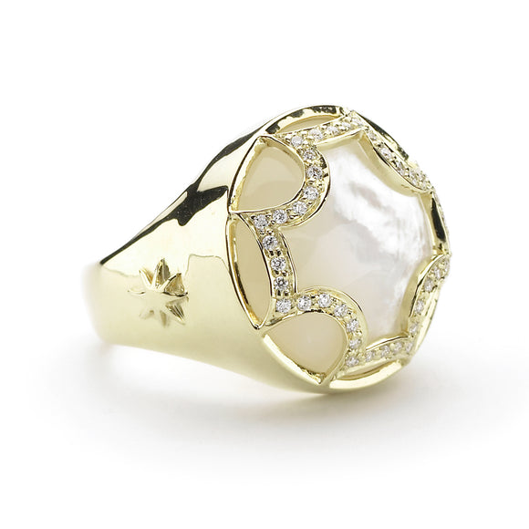 *SPECIAL ORDER* Maltese Cabochon Ring in Mother of Pearl & Diamonds in 14kt or 18kt gold - USE CODE SPECIALORDER50 and only pay a 50% deposit of $1025 for the 14kt version