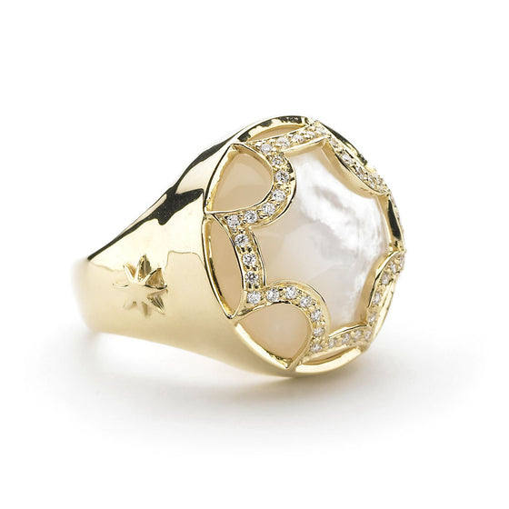 Maltese and Diamond Ring in Mother of Pearl in 18kt Gold - Special Order