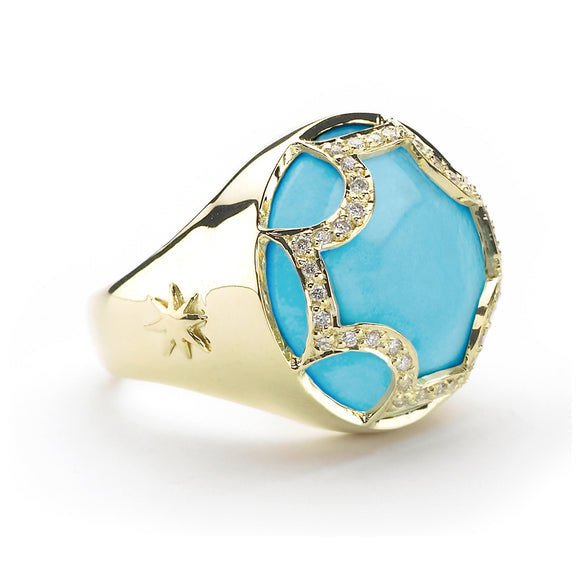 *SPECIAL ORDER* Maltese Cabochon Ring in Kingman Mine Turquoise & Diamonds in 14kt or 18kt gold - USE CODE SPECIALORDER50 and only pay a 50% deposit of $1050 for the 14kt version