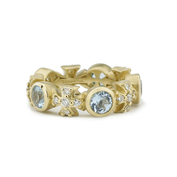 18kt Gold Maltese Sky Blue Topaz & Diamond Eternity Ring