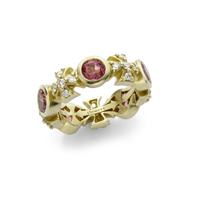 *SPECIAL ORDER* Maltese Eternity Ring in Pink Tourmalines & Diamonds in 18kt Gold - USE CODE SPECIALORDER50 and only pay a 50% deposit of $1425