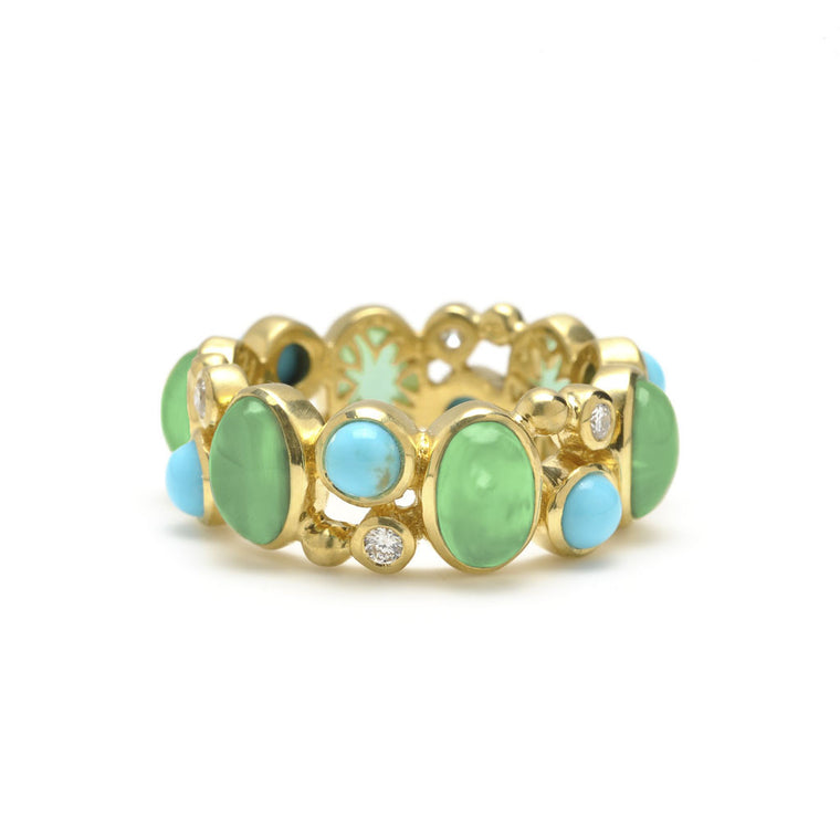18kt Gold Madeleine Ring in Chrysophrase, Turquoise and Diamonds