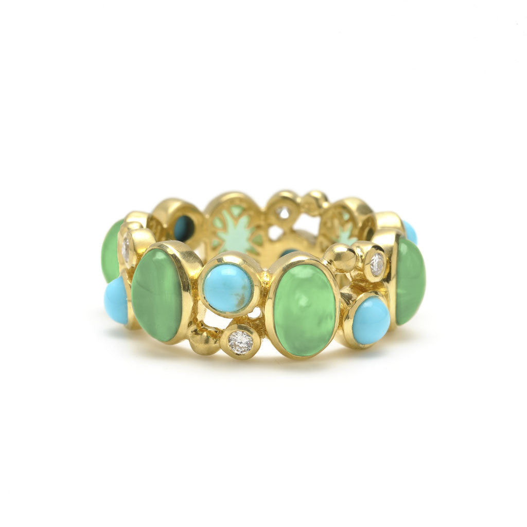 18kt Gold Madeleine Ring in Chrysophrase, Turquoise and Diamonds - Special Order