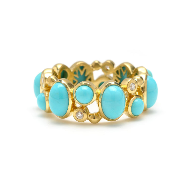 Madeleine Eternity Ring in Kingman Mine Turquoise and Diamonds in 18kt Gold - RING IS $1124 - USE CODE CLEAROUT50.
