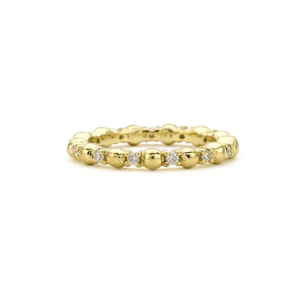 18kt Gold Detail Ball Ring with Diamonds - USE CODE FESTIVE30 FOR 30% OFF
