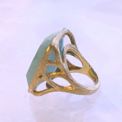 Tree of Life Ring in Peruvian Amazonite - 18kt Gold - SALE