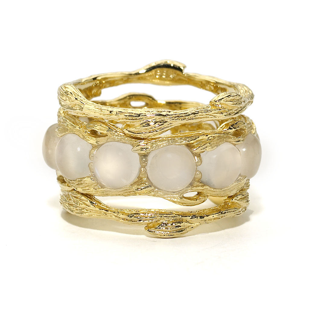 Bird's Nest Eternity Ring in Rainbow Moonstone - 18kt Gold - USE CODE HOORAY50 FOR AN EXTRA 50% OFF
