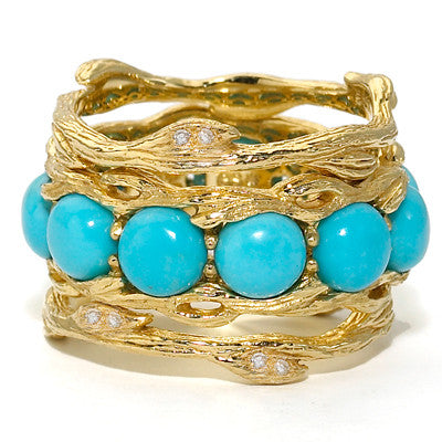 Bird's Nest Eternity Ring in Turquoise - 18kt Gold - SALE