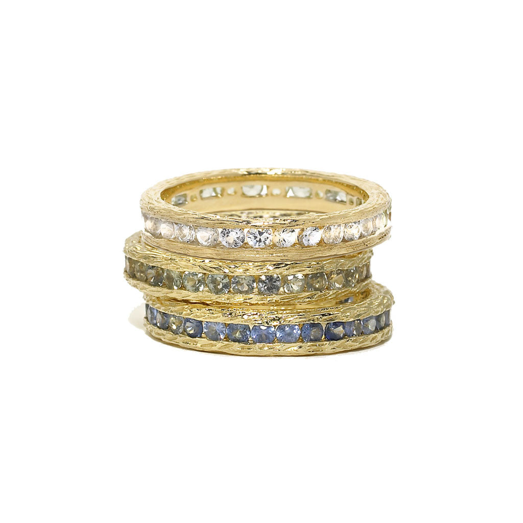 Birch Channel Stack Ring with Blue Sapphires - 18kt Gold - USE CODE HOORAY50 FOR AN EXTRA 50% OFF