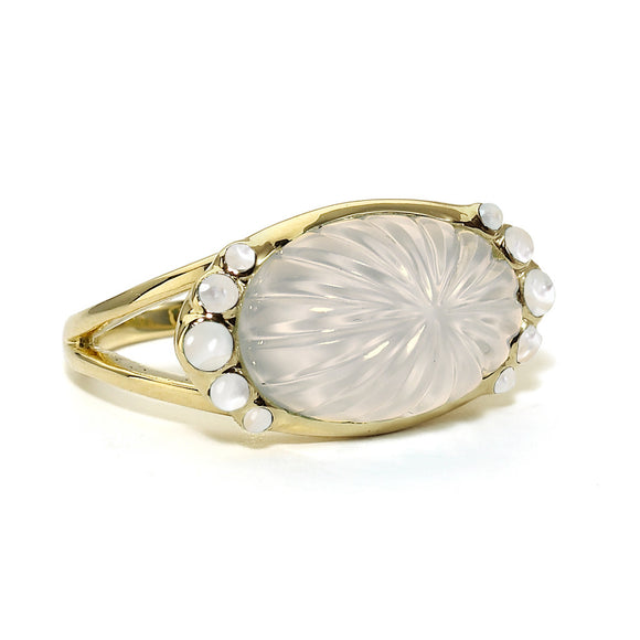 Soleil Eclipse Ring in Glowing Milky Quartz Over Mother of Pearl