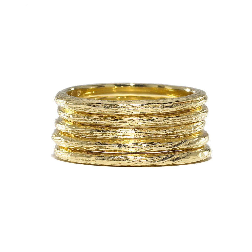 Tree of Life Birch Branch Stacking Ring - 18kt Gold - USE CODE HOORAY50 FOR AN EXTRA 50% OFF