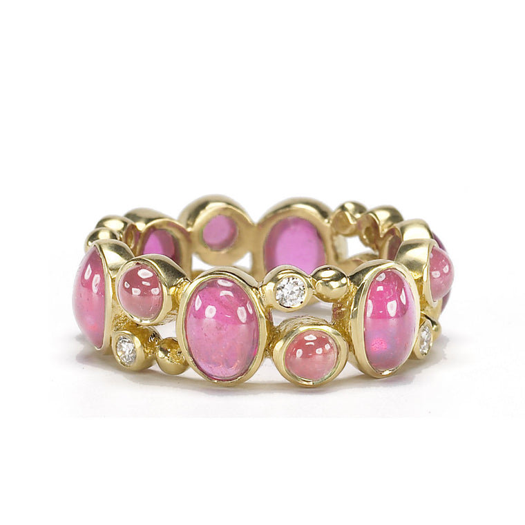 18kt Gold Madeleine Ring in Pink Ruby & Diamonds - Special Order