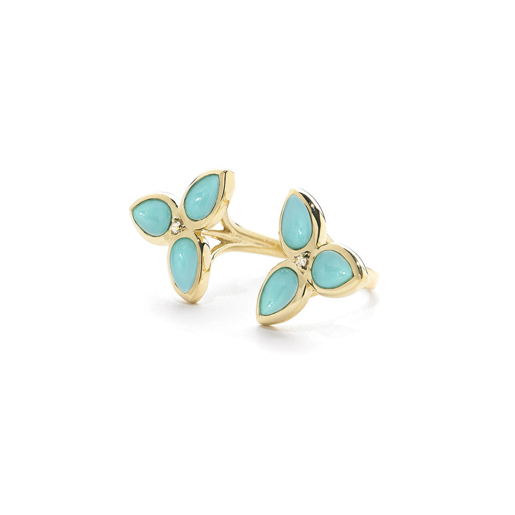 Mariposa Cuff Ring in Kingman Mine Turquoise & Diamonds set in 18kt Gold - USE CODE HOORAY50 FOR 50% OFF