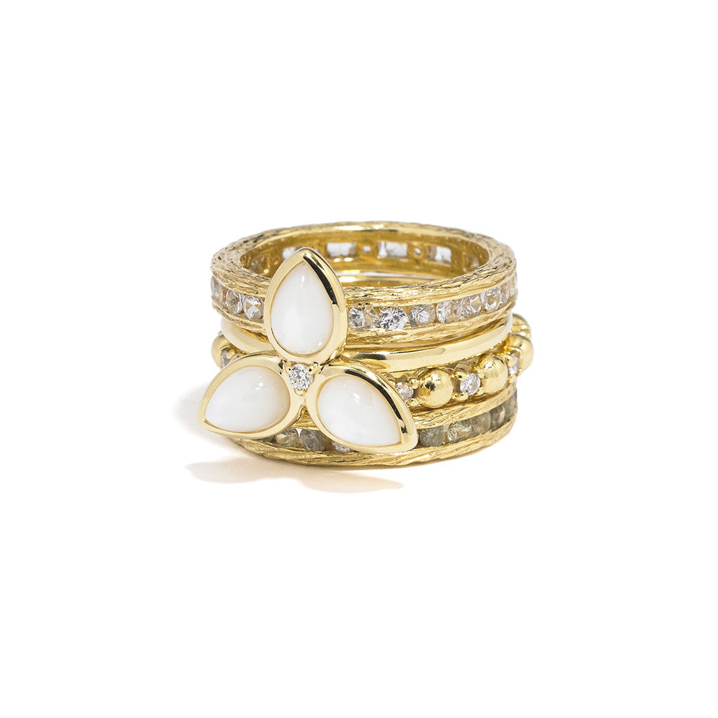 Ball & Sapphire Stacking Ring in 14kt Yellow Gold Over Sterling Silver