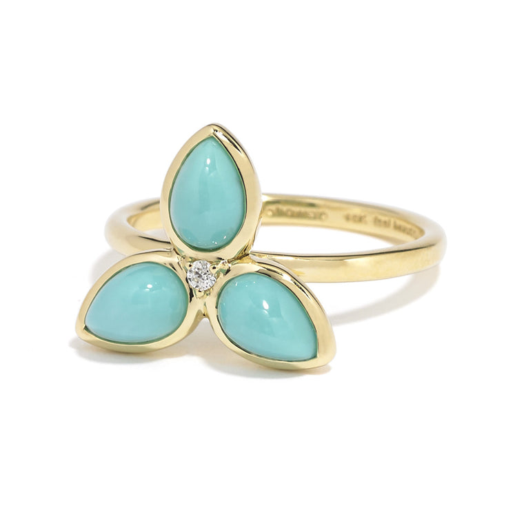 *SPECIAL ORDER* Mariposa Ring in Arizona Kingman Mine Turquoise in 18kt Gold - USE CODE SPECIALORDER50 and only pay a 50% deposit of $575