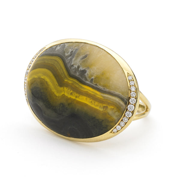 Ring in Bumblebee Agate and Diamonds - 18kt Gold - USE CODE HOORAY50 FOR AN EXTRA 50% OFF