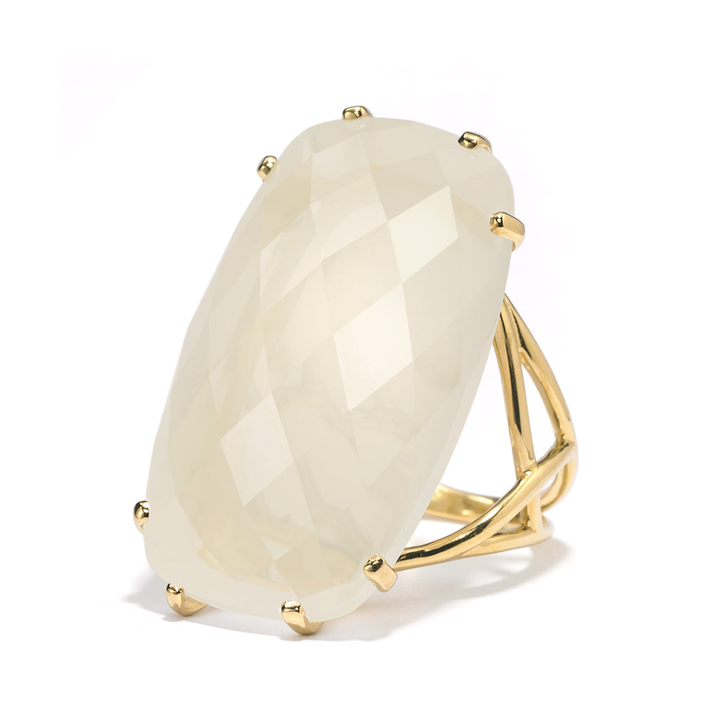 White Moonstone Cocktail Ring in 18kt Gold - RING AS LOW AS $2137.50 USE CODE JOY25