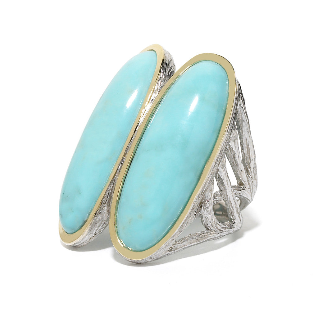 *SPECIAL ORDER* Double Surfer Ring in Arizona Kingman Mine Turquoise -USE CODE SPECIALORDER50 and only pay a 50% deposit of $497.50