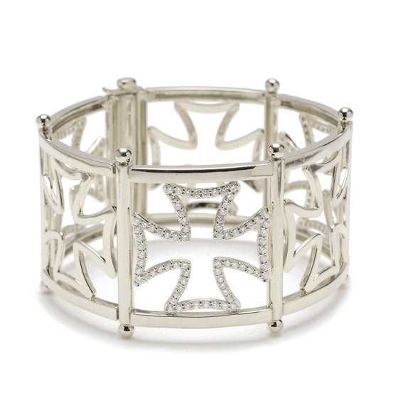Maltese Silhouette Cuff Bracelet with Sapphires in Sterling Silver - Special Order