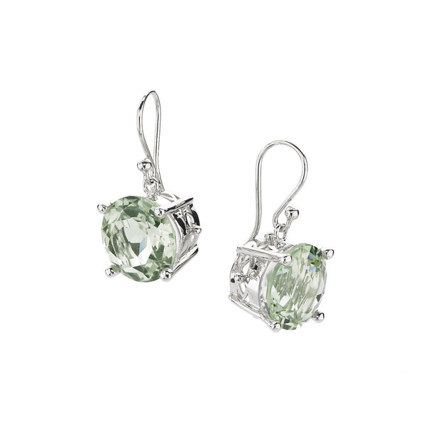 Crown & Stone Earrings in Green Amethyst in Sterling Silver