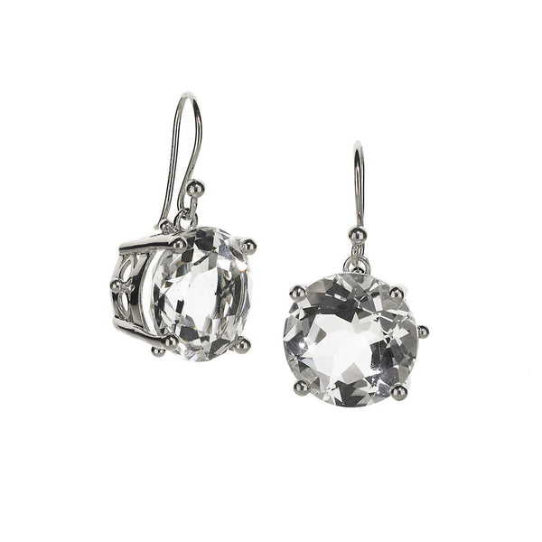Large Crown & Stone Earrings in White Quartz Set in Sterling Silver