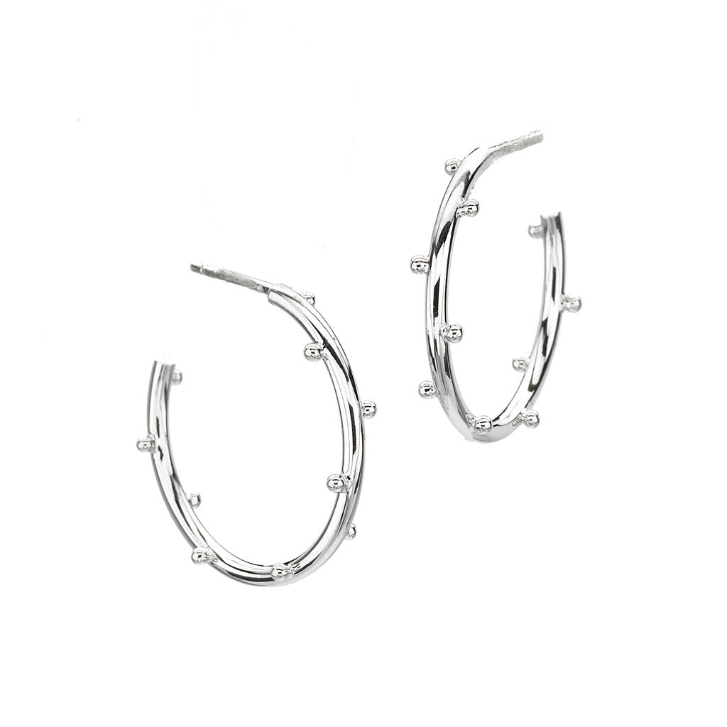 Classic Ball Hoops Small in Sterling Silver - USE CODE SPRING30 FOR AN EXTRA 30% OFF