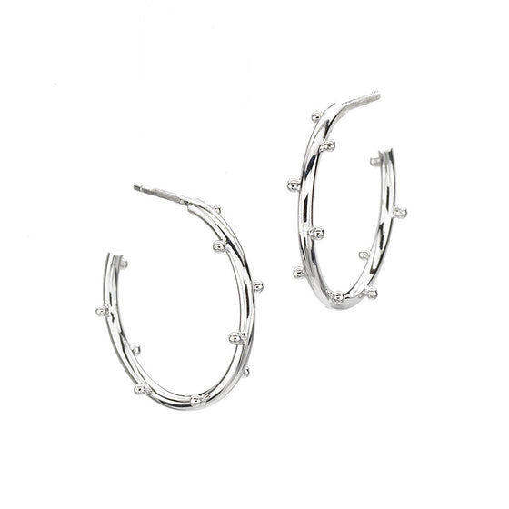 Classic Ball Hoops Small in Sterling Silver
