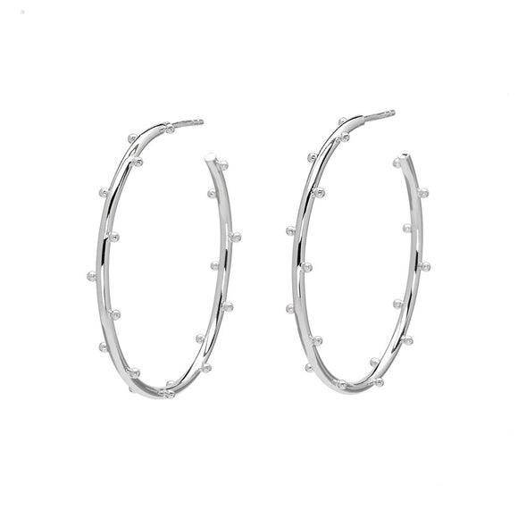 Classic Ball Medium Hoops in Silver