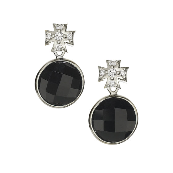 Pave White Sapphire Maltese Cross with Black Onyx Drop Earrings - Silver - EARRINGS ARE $251.25 USE CODE JOY25