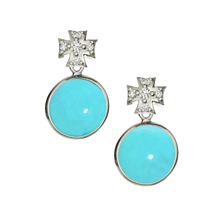 Pave White Sapphire Maltese Cross with Kingman Mine Turquoise Earrings in Silver
