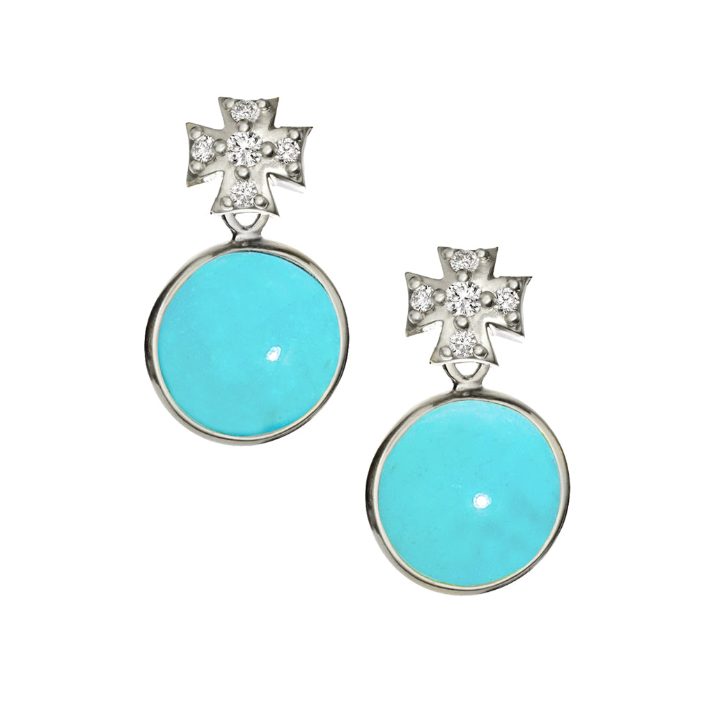 Pave White Sapphire Maltese Cross with Kingman Mine Turquoise Earrings - Silver
