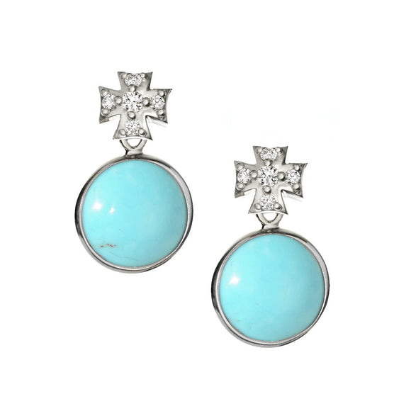 *SPECIAL ORDER* Maltese Cross Sapphire Posts with Kingman Mine Turquoise Drops - USE CODE SPECIALORDER50 and only pay a 50% deposit of $225