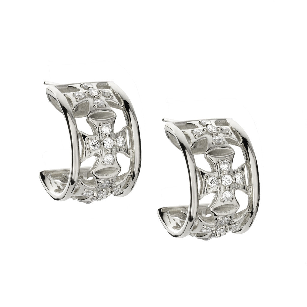 Small Maltese Cross White Sapphire Hoops in Sterling Silver *TAKE 25% OFF WITH CODE MALTESE25, $178.50 AFTER CODE