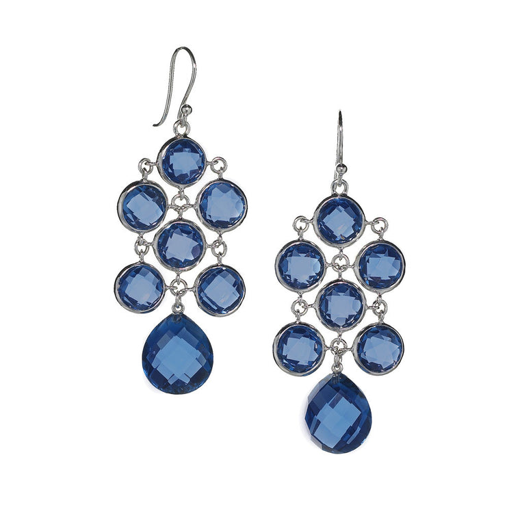 Juliette Chandelier Earrings in Created London Blue Sapphire - Special Order