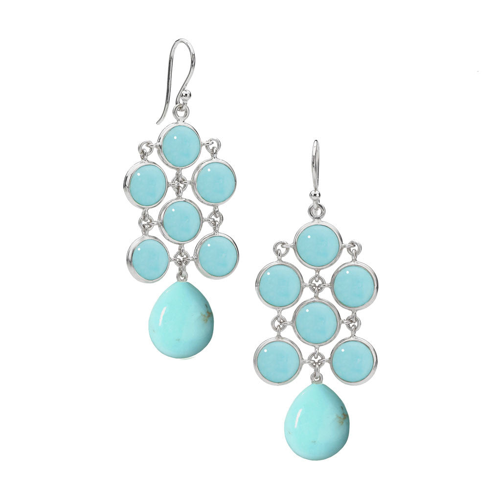 Juliette Chandelier Earrings in Turquoise in Sterling Silver - Special Order