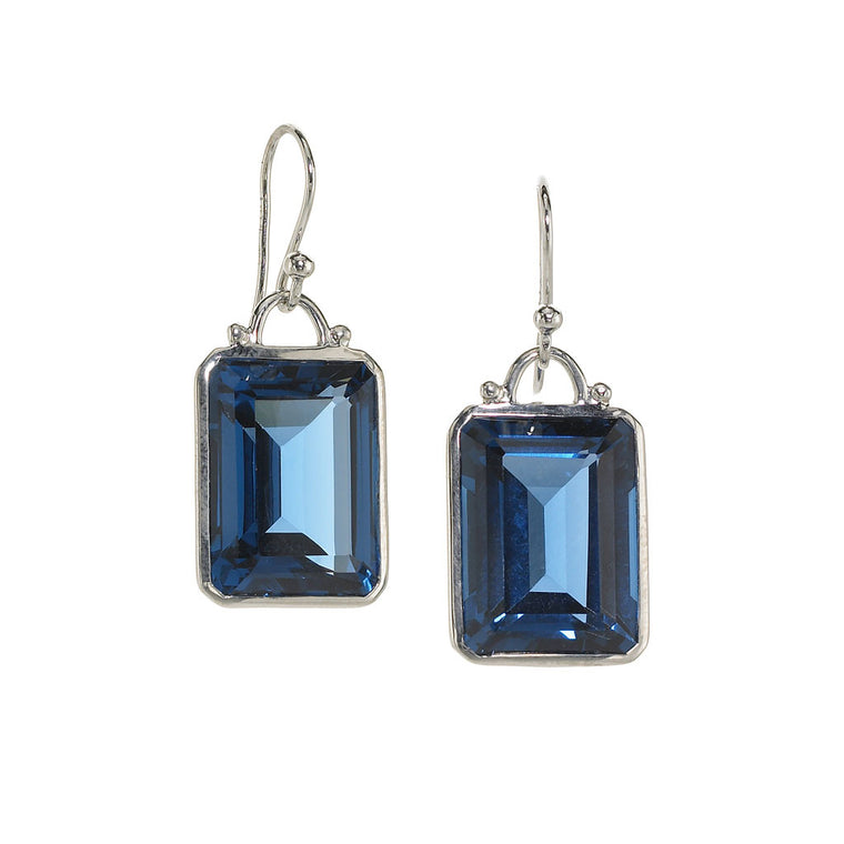 Deco Earrings in Created London Blue Sapphire in Sterling Silver - Special Order