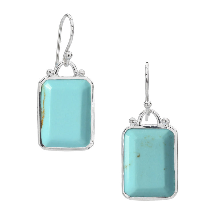 *SPECIAL ORDER* Deco Earrings in Kingman Mine Turquoise in Sterling Silver - USE CODE SPECIALORDER50 and only pay a 50% deposit of $197.50