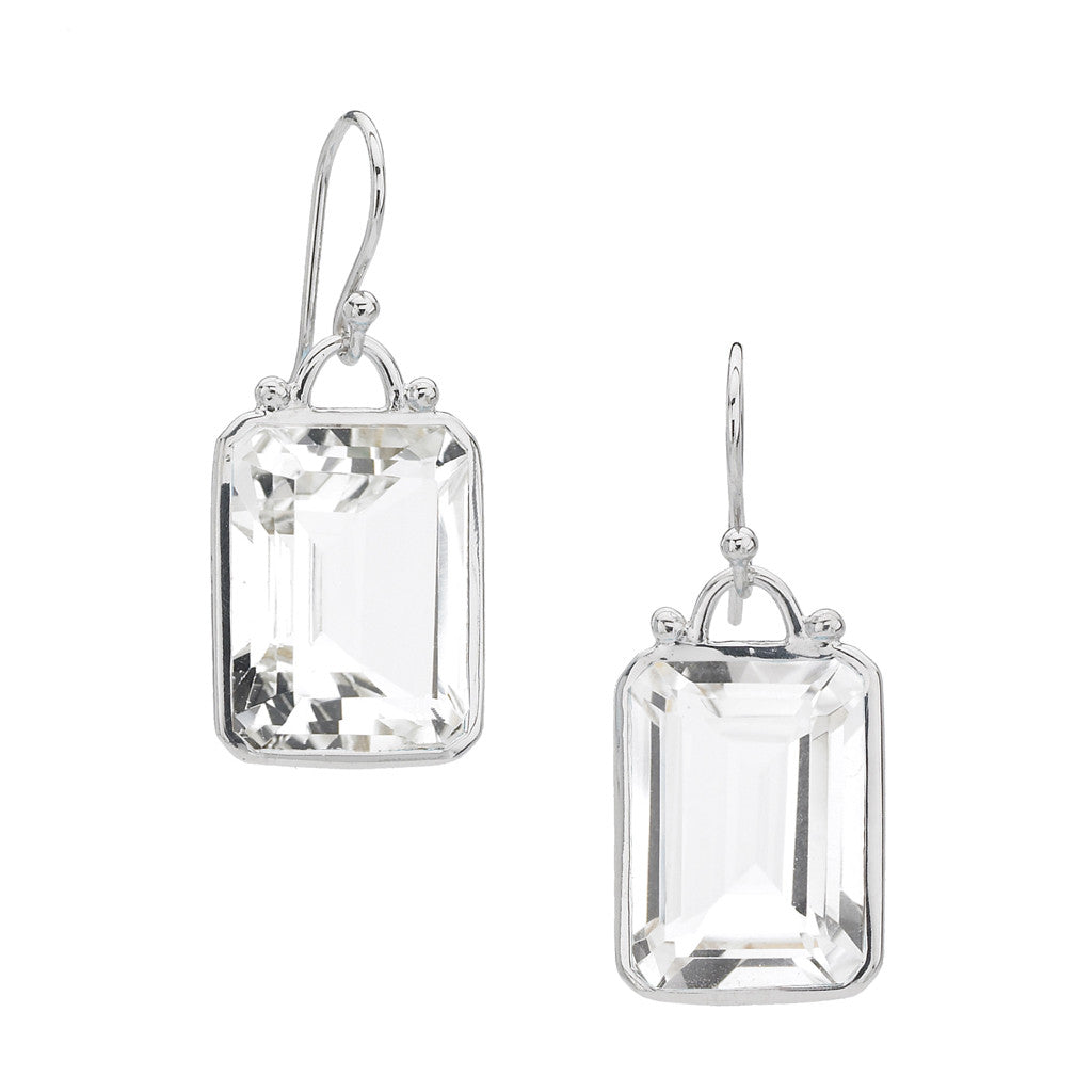 *SPECIAL ORDER* Deco Earrings in Clear Quartz in Sterling Silver - USE CODE SPECIALORDER50 and only pay a 50% deposit of $167.50