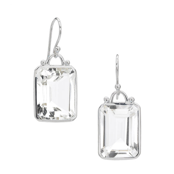 Deco Earrings in White Quartz & Silver - PRICE IS $147.50 - USE CODE SUMMER50