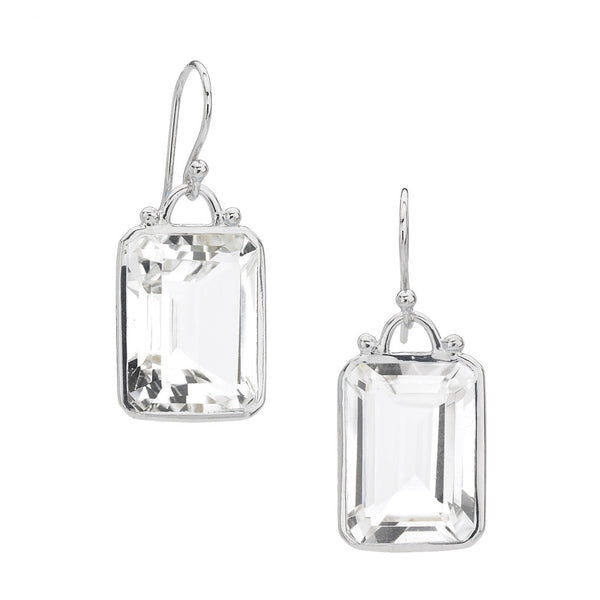 Sterling Silver Deco Earrings in White Quartz